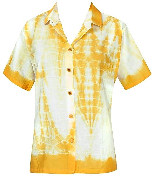 LA LEELA botón de la Blusa de la Playa de Las Mujeres Abajo Informal Camisa Hawaiana l Amarillo: Amazon.es: Ropa y accesorios