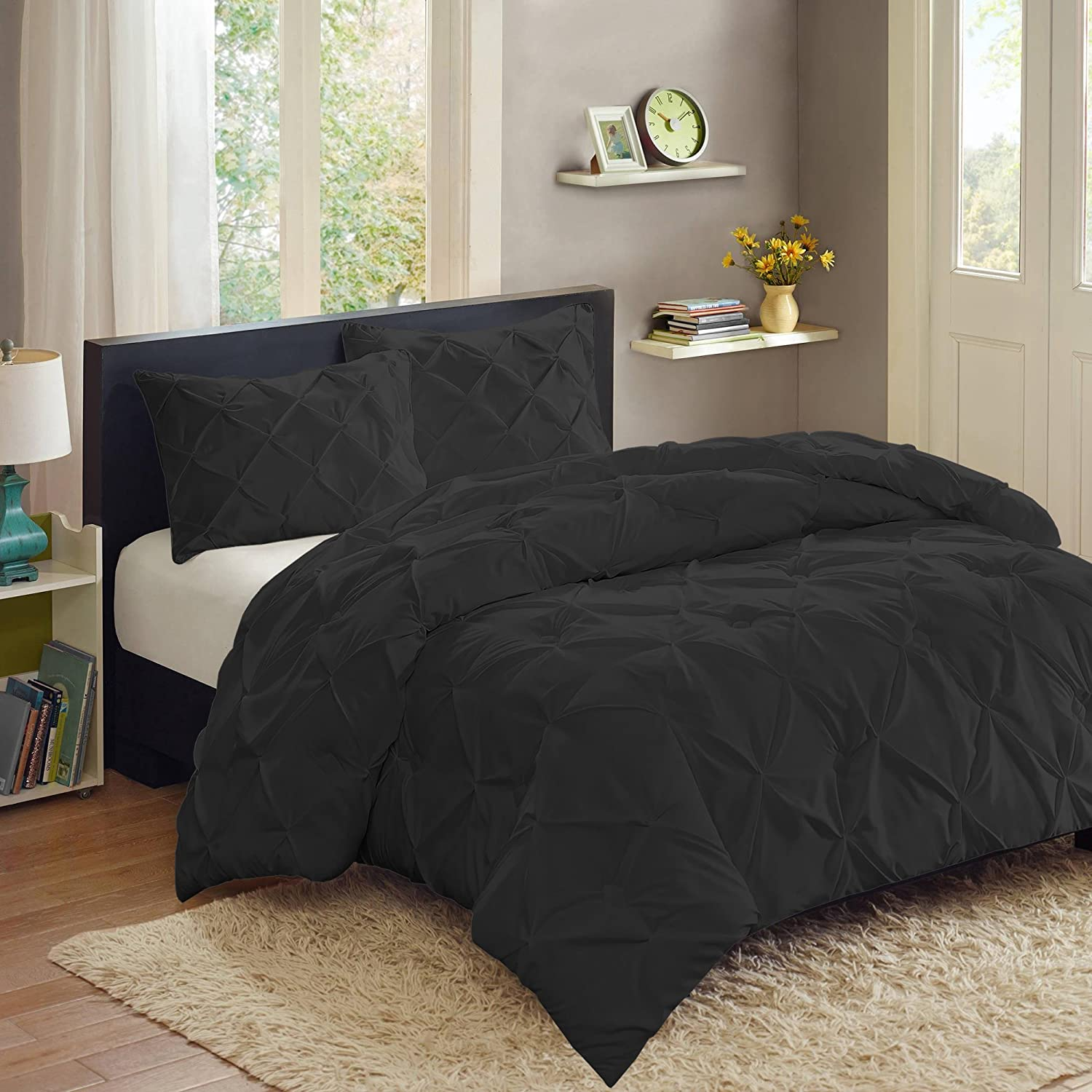 3 Piece PP Luxury Pinch Pleat Pintuck Fashion Duvet Set
