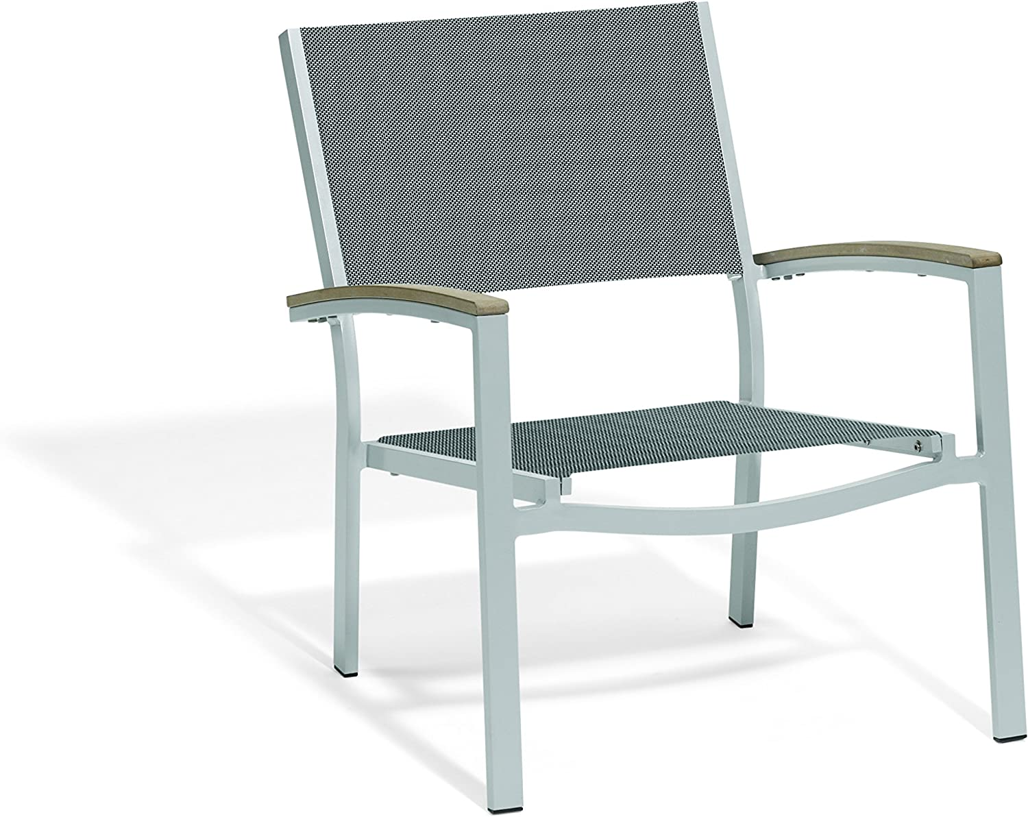 Oxford Garden – Travira Collection Chat Chair – Titanium Sling Seat – Tekwood Vintage Armcaps – Set of 2