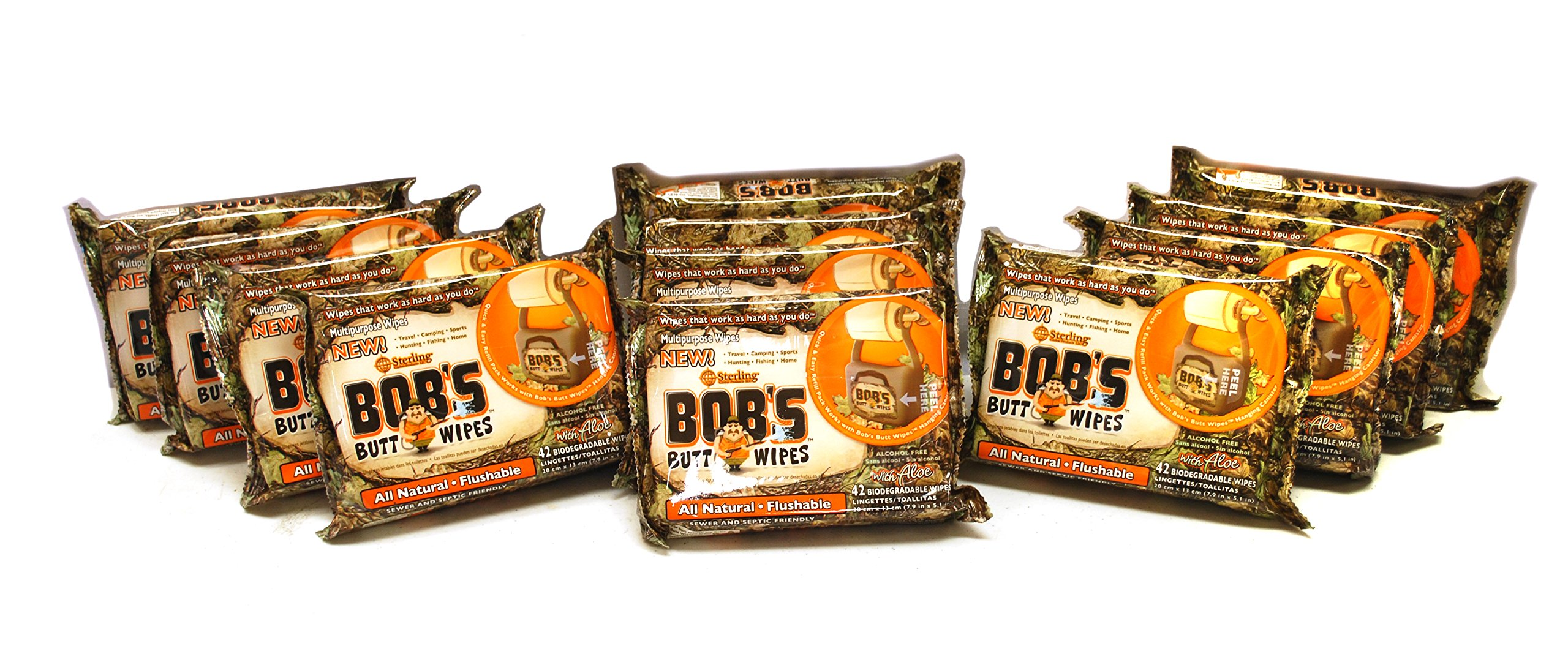Bob's Butt Wipes 42ct Refill Only, 12 Pack, Unscented Hypoallergenic All-Natural Flushable Wipes