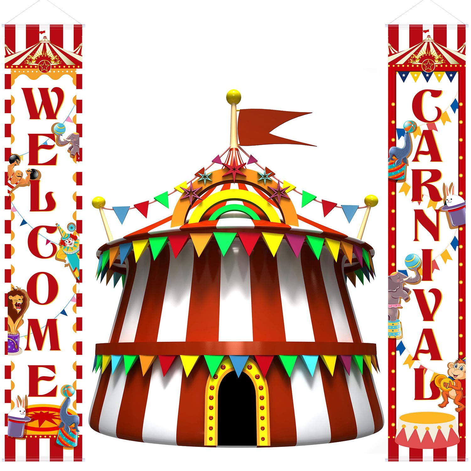 Carnival Decoration Porch Sign Carnival Circus Birthday Party Welcome Banner Decoration Set Circus Carnival Banner Carnival Party Supply Decor Home Decorations (Red and White)
