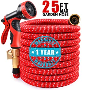 "COCTN 25ft Red Garden Hose Expandable Water Hose, Durable Flexible Hose, 9 Function Spray Hose Nozzle with 3/4"" Solid Brass Connectors, Extra Strength Fabric, 2019 Upgraded Lightweight Expanding Hose"