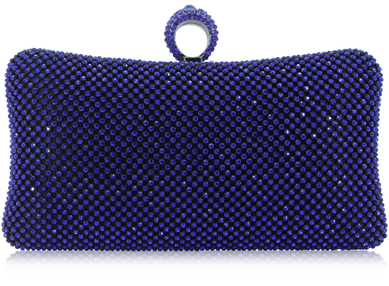 Dexmay Ring Rhinestone Crystal Clutch Purse Luxury Women Evening Bag for Bridal Wedding Party Cobalt blue