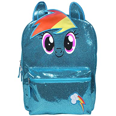 8024d95b7d Little Pony Rainbow Dash 16 inch Backpack for Girls Glittery Blue   Amazon.co.uk  Clothing