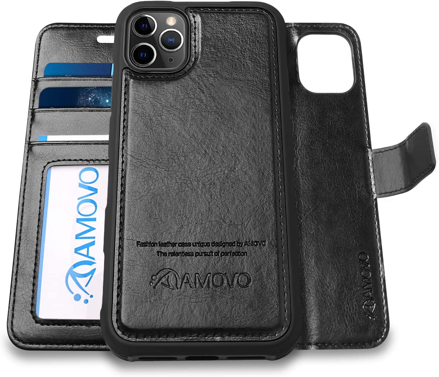 AMOVO Case for iPhone 11 Pro (5.8'') [2 in 1] iPhone 11 Pro Wallet Case Detachable [Vegan Leather] [Hand Strap] [Stand] iPhone 11 Pro Flip Folio Case Cover (Black)