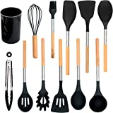 Silicone Cooking Kitchen Utensils Set - Professional Quality -Storage Bucket Included - Colors Black or Light Green - Wood Kitchen Utensil Set of 12