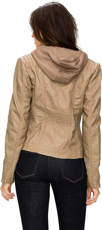 LL WJC663 Womens Removable Hoodie Motorcyle Jacket M KHAKI