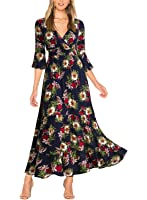 Miusol Women's Flare Floral 2/3 Sleeve Summer Party Long Dress