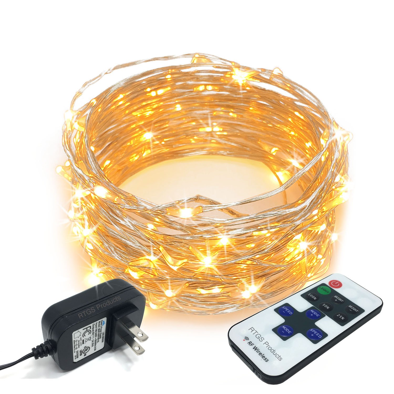 RTGS 100 LEDs String Lights Plug in on 32 Feet Long Silver Color Wire Indoor Outdoor Use Warm White Color 100 LEDs 32 FEET Remote and Functions