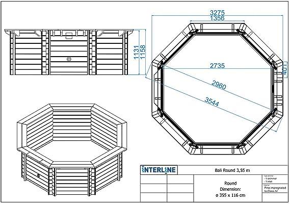 Interline 50700205 Pool Bali Madera Pared de 6 Rectangular, 3, 55 m de diámetro x 1, 16 m: Amazon.es: Jardín