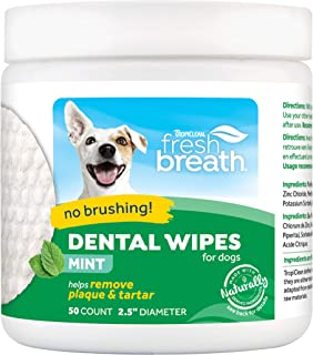 product image for Fresh Breath by TropiClean No Brushing Clean Teeth Dental & Oral Care Dental Wipes for Pets, 50ct