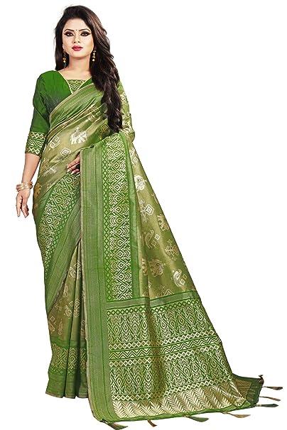 bb829a6d2 SareeShop Women s Silk Green Jacquard sarees (Apple-3210-SAREESHOP)   Amazon.in  Clothing   Accessories