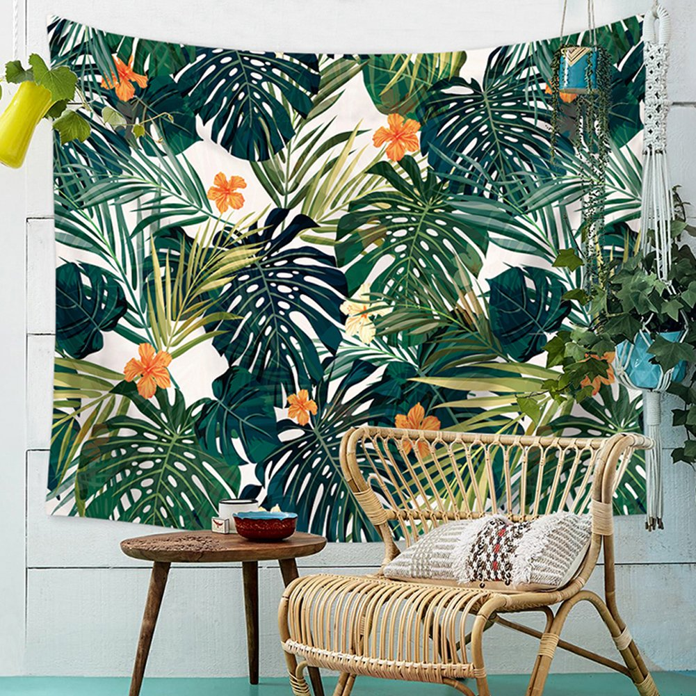 QCWN Tropical Jungle Tapestry Banana Palm Tree Leaf Plants Cactus and Flamingo Themed Print Wall Hanging for Bedroom Living Room Dorm Home Decor Art (3, 59Wx51L)