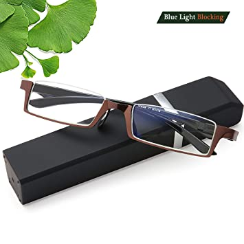 6456e68c75d9 Amazon.com   Half Moon Reading Glasses Blue Light Blocking - Computer  Eyeglasses Spring Hinges Frames for Men and Women Stylish Simple Readers  Glasses ...