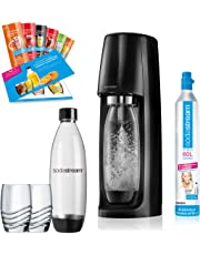 SodaStream Easy PROMOPACK Wassersprudler zum Sprudeln von Leitungswasser, ohne schleppen!  mit 1 Zylinder, 2* 1L PET Flasche (BPA FREI!), 2 Design Trinkgläsern sowie 6 Sirupproben; Farbe: schwarz