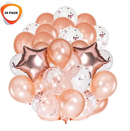 c57b0637a8f752 Rose Gold Balloons   Rose Gold Confetti Balloons Party Decorations Set 30  Pack