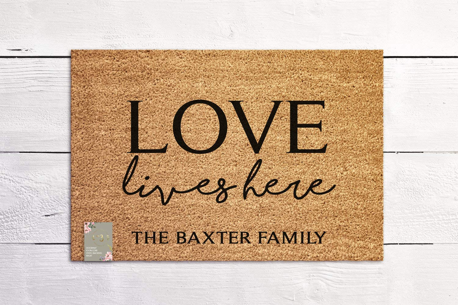 LOVE Lives Here Custom Doormat Last Name Welcome Mat Housewarming Gift New Home Gift Personalized Wedding Gift Coir Mat Outdoor Doormat