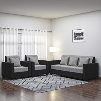 Pleasing Bharat Lifestyle Tulip Five Seater Sofa Set 3 1 1 Black Machost Co Dining Chair Design Ideas Machostcouk