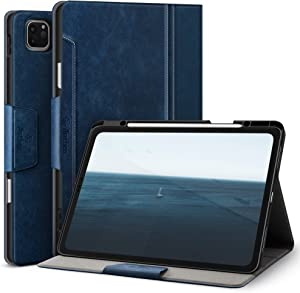 Antbox Case for iPad Pro 12.9 2020/2018 with Built-in Apple Pencil Holder [Support 2nd Gen Apple Pencil Wireless Charging] Auto Sleep/Wake Function PU Leather Smart Cover (Blue)
