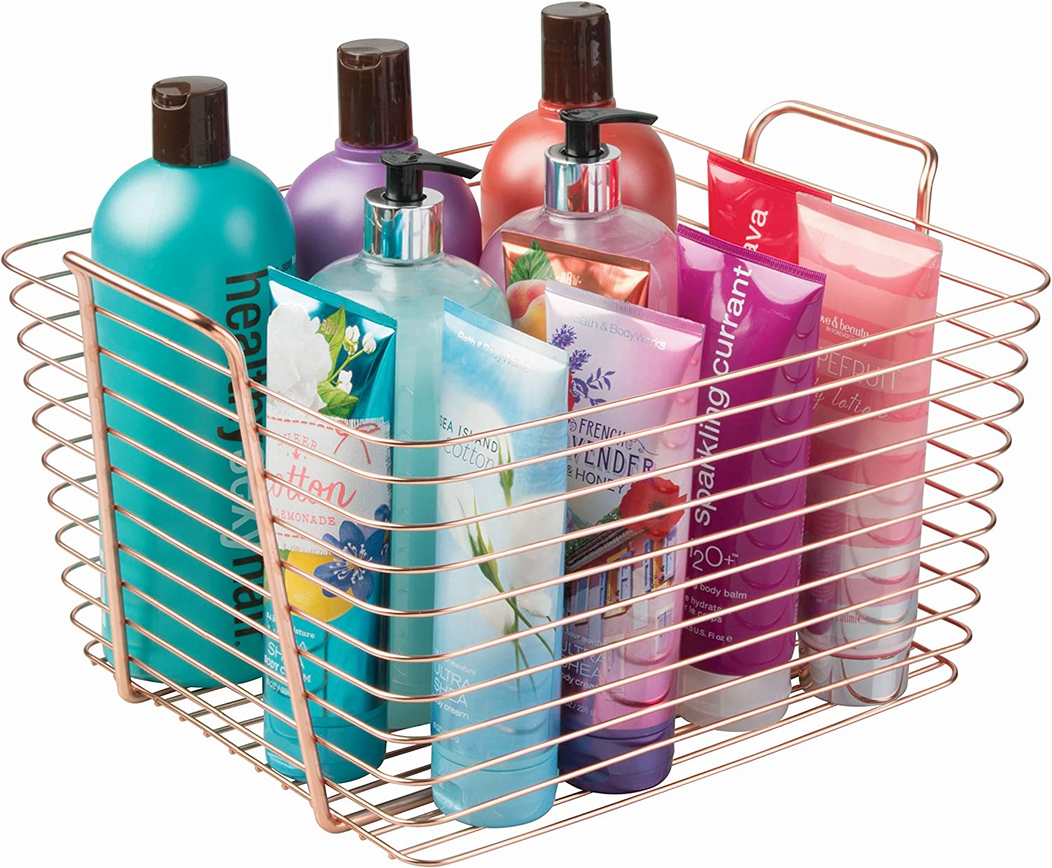 iDesign Classico Storage Basket, Large Wire Basket for Toiletries, Kitchen Utensils, Toys and More, Made of Metal, Copper Coloured