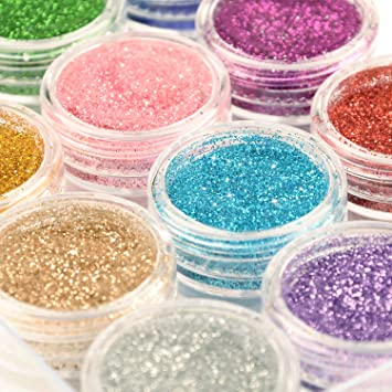 Amazon.com: Glitter Wenida 12 Colors Holographic Cosmetic Festival Powder  Sequins Craft Glitter for Arts Face Hair Body Nail: Beauty