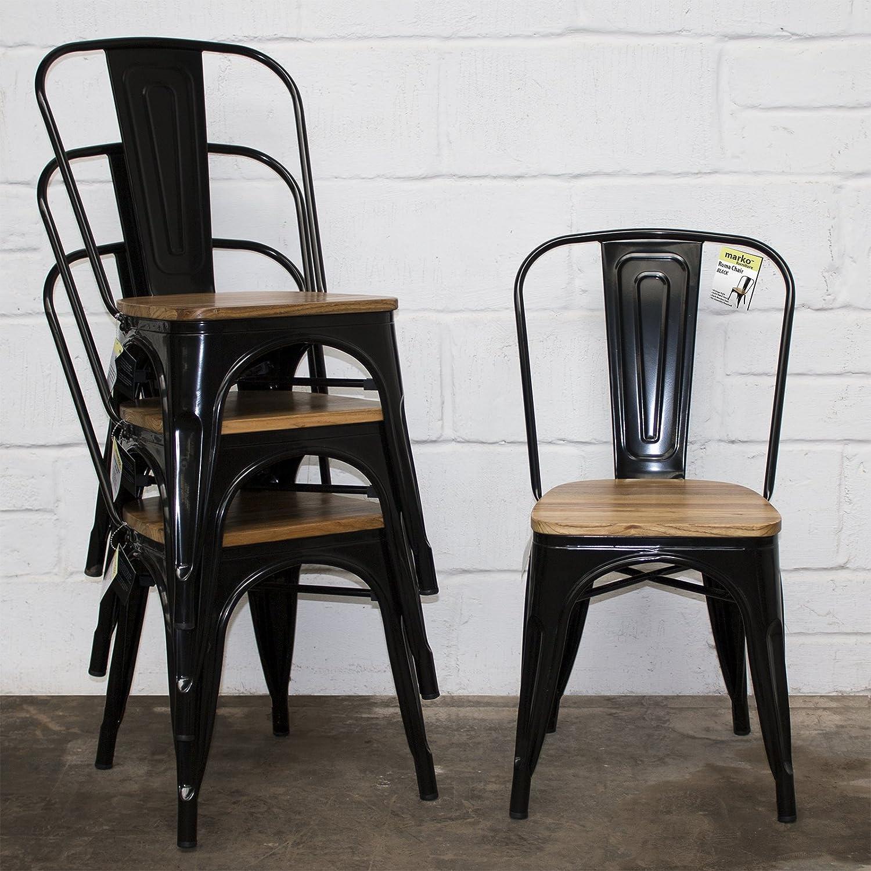 Marko Furniture Set of 9 Black Industrial Dining Chair Kitchen Bistro Cafe  Vintage Wood Seat