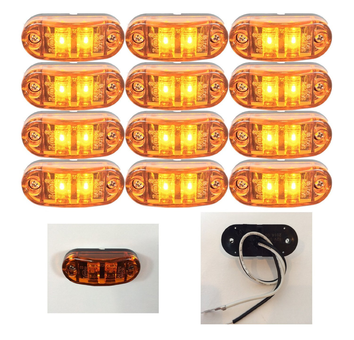 Zxlight® 2.6''x1'' RED Surface Mount LED Clearance Marker Lights 12v for Trucks Campers Trailers Rvs (24, Amber)