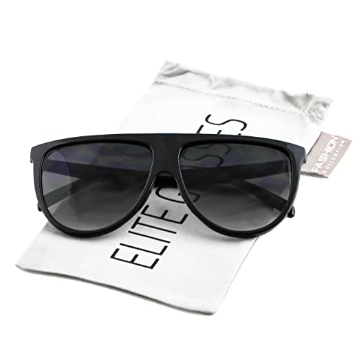 1d552337a Large Vintage Retro Designer Flat Top Aviator Round Oversized Women  Sunglasses (Black, 2.3)