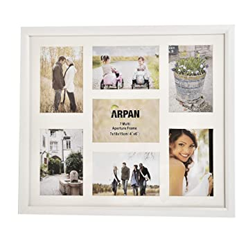 ARPAN MDF Multi Aperture Photo Collage Frame for 7 Photos 3 x 6\