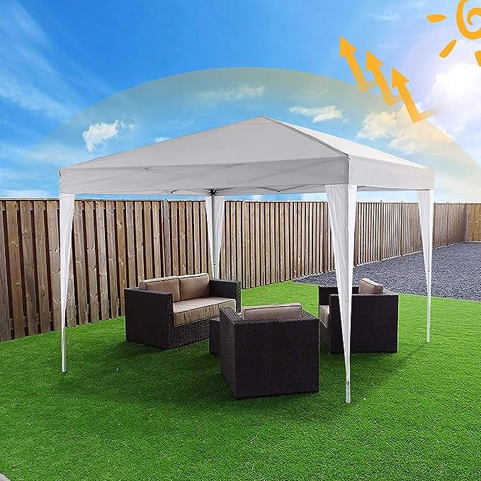 Profun Carpa Plegable 3x3M Carpas para Exteriores Impermeable con 4 Paredes Laterales y 2 Ventanas para Fiestas, Bodas, Jardin, Patio, al Aire Libre: Amazon.es: Jardín