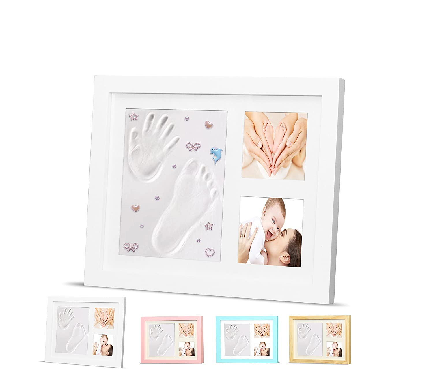 and Grandparents Unique Baby Shower Gifts Adorable Baby Keepsake Gift for New Moms Dads Perfect for Baby Boy and Girl Room Decor by Ninos baby footprint Timeless Newborn Baby Hand and Footprint Kit and Frame