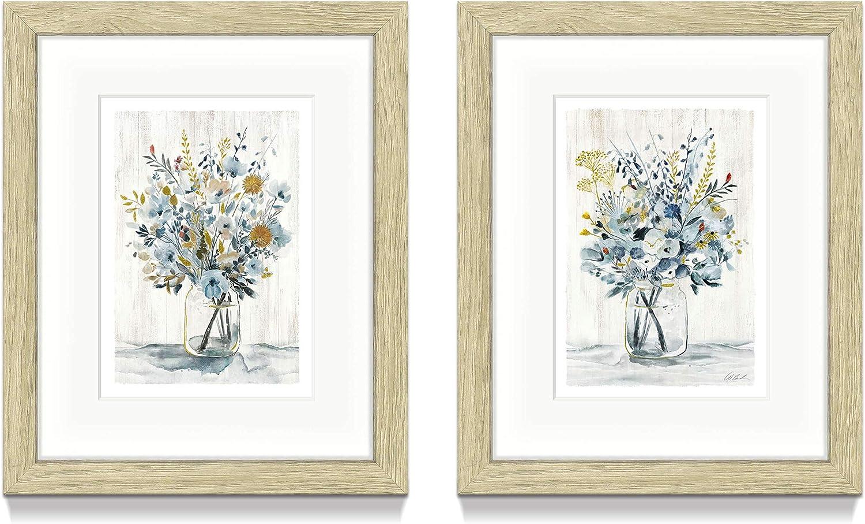 Floral Bouquet Framed Wall Art – Set of 2 Vertical Blossoms in Mason Jar Artwork Prints with Gold Foils & Wood Frame for Decor Restroom / Laundry Room(8'' x 10'' x 2 Panels)