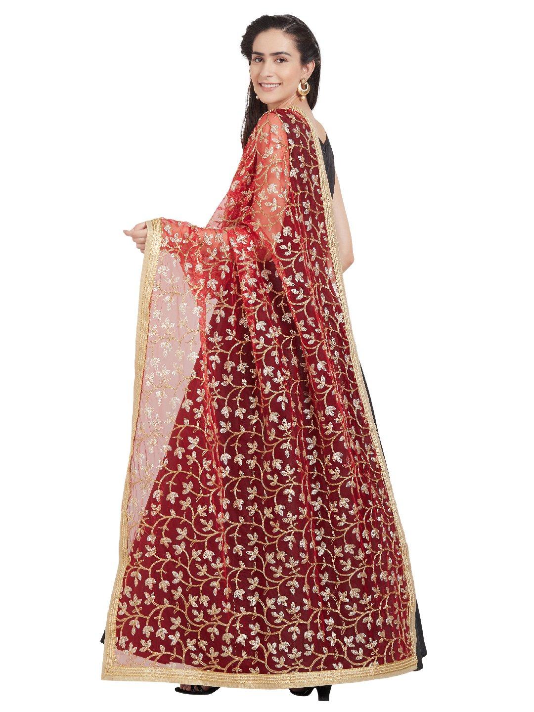 Dupatta Bazaar Woman's Red & Golden Net Embroidered Dupatta