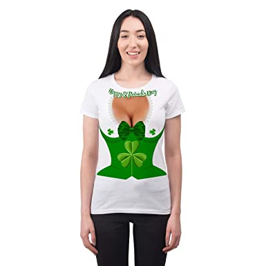 7e1a4e364d4 Bang Tidy Clothing St Patricks Day Funny Boobs Cleavage Corset Womans  Sublimated Costume T Shirt -