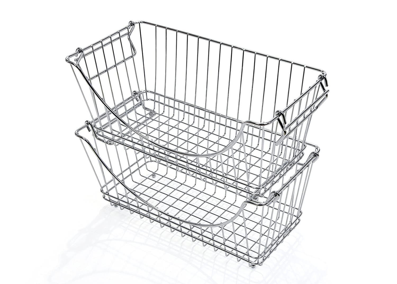 Smart Design Stacking Baskets Organizer w/ Handle - Medium - Steel - for Food, Fruit, & Vegetable Safe - Kitchen (12.63 x 5.5 Inch) [Chrome] (2 Pack)