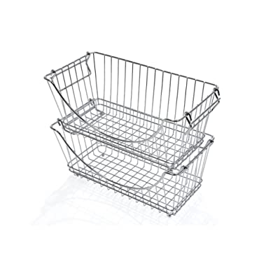 PROMART DAZZ Medium Stacking Baskets, Chrome, Set of 2