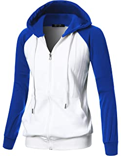 1a912eefdc29f GIVON Womens Comfortable Long Sleeve Lightweight Raglan Zip-up Hoodie with  Kanga Pocket