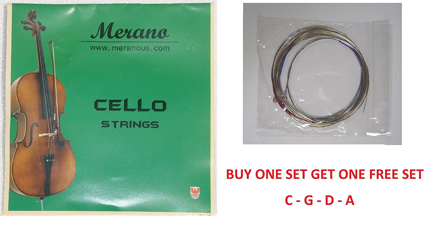 Merano 1/2, 1/4 CELLO String Set (C-G-D-A) - Buy One Get One FREE ~ Beginner, Student, Replacement STC10-2