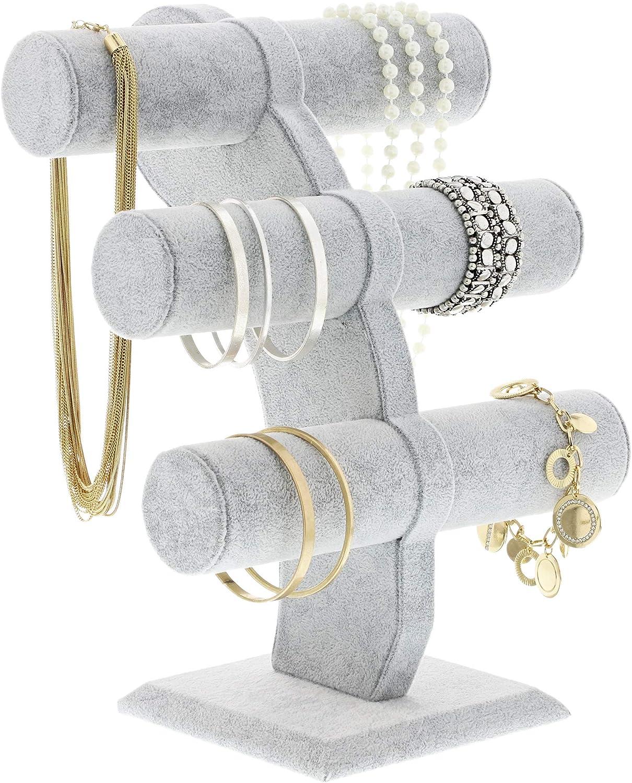 cha/înes Bijoux Showcase et organiseur pour montres Pr/ésentoir bijoux bracelets d/écoratifs gris colliers Bracelet support 3 /étages support de bijoux T-Bar Pr/ésentoir /à bijoux