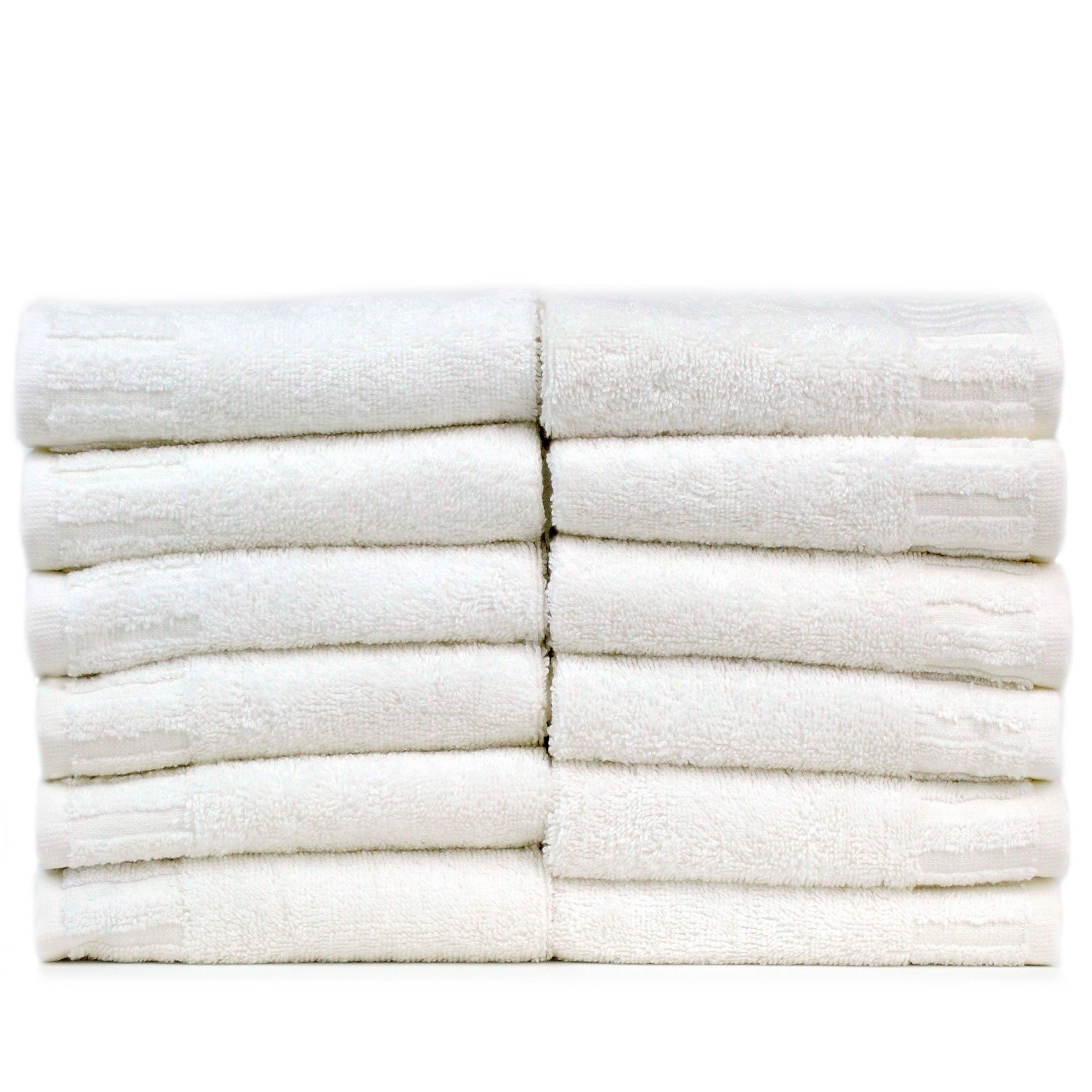 Luxury Hotel & Spa Towel Turkish Cotton Piano (WHITE, Wash Cloth - Set of 12)