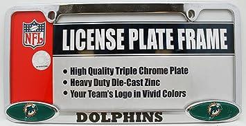 miami dolphins nfl triple chrome license plate frame - Miami Dolphins License Plate Frame