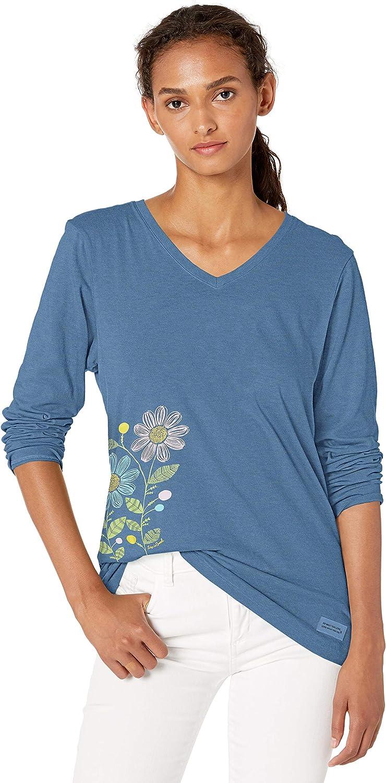 Life is Good Womens Crusher Longsleeve Tee Primal Snowflake Athletic T Shirts