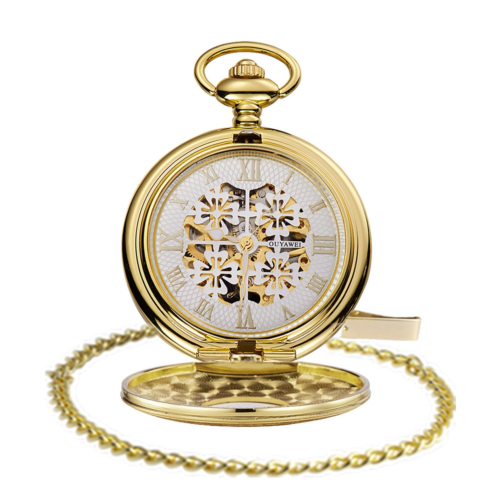 Gold Pocket Watches with Gifts Chain