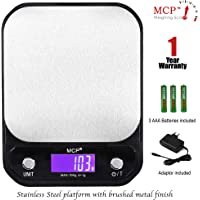MCP Kitchen Weighing Machine Digital Stainless Steel Electronic LCD Food Weighing Scale Upto 10kgs Weight with AC Adaptor