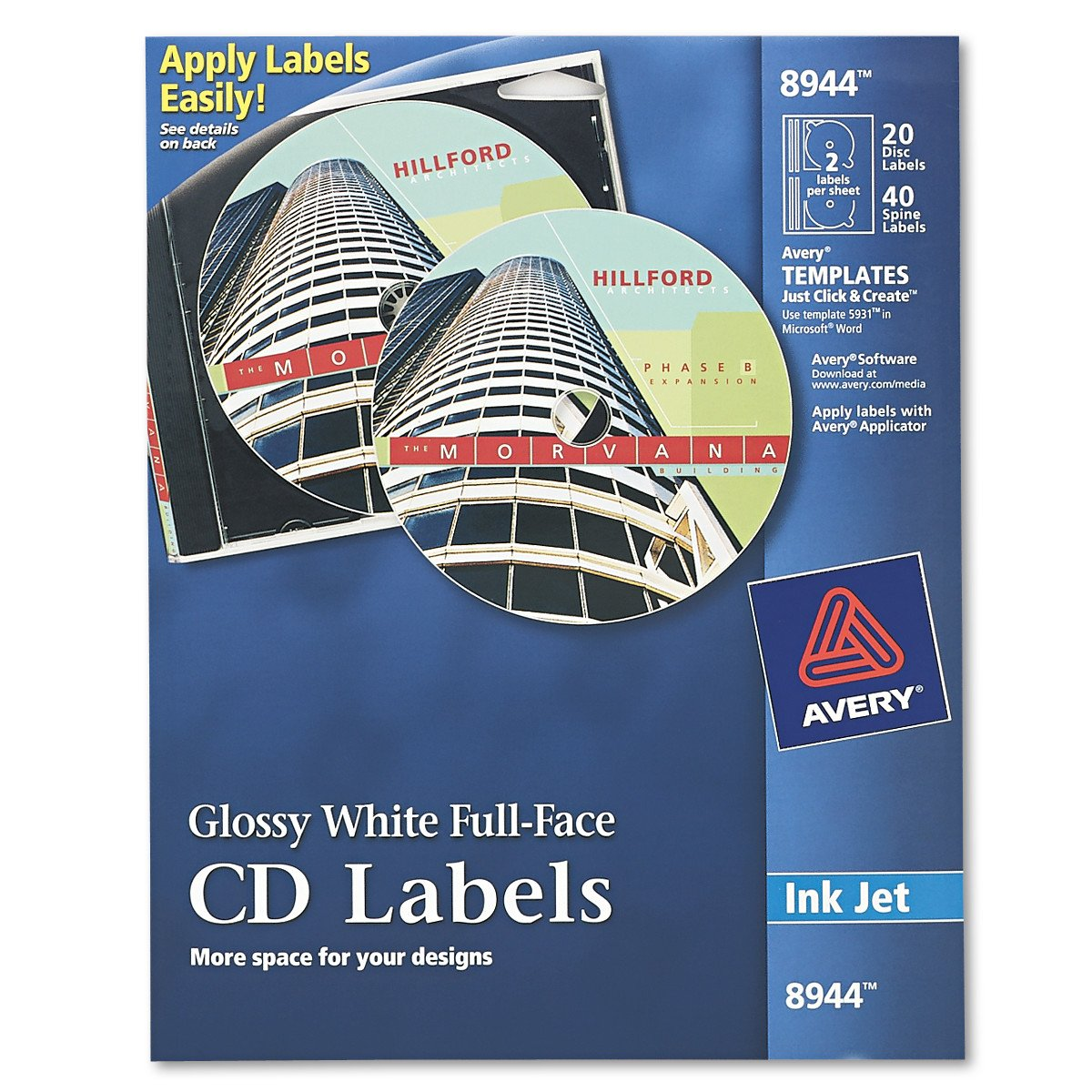 Amazon Avery Full Face Cd Labels For Inkjet Printers Glossy