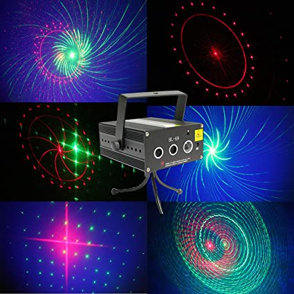sumger 3 lens 16 patterns rg mini led laser stage lights sound activated projector effect paty lighting with tripod for disco dj stage lighting
