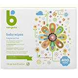 Baby Wipes, Babyganics Unscented Diaper Wipes , 400 Count, (5 Packs of 80), Non-Allergenic and formulated with Plant Derived