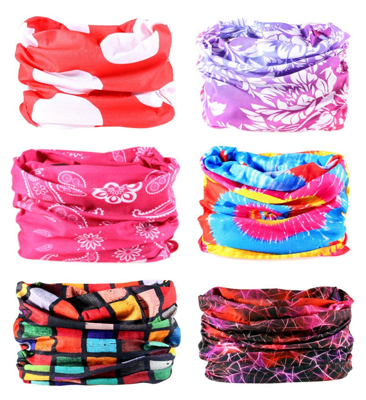 Kingree 9ピース& 6pcsアウトドアマジックスカーフ、高伸縮性レディースとメンズヘッドバンドwith UV抵抗、Headscarves、Headwear、マスク  Red Series 2 B07FFJ85NS