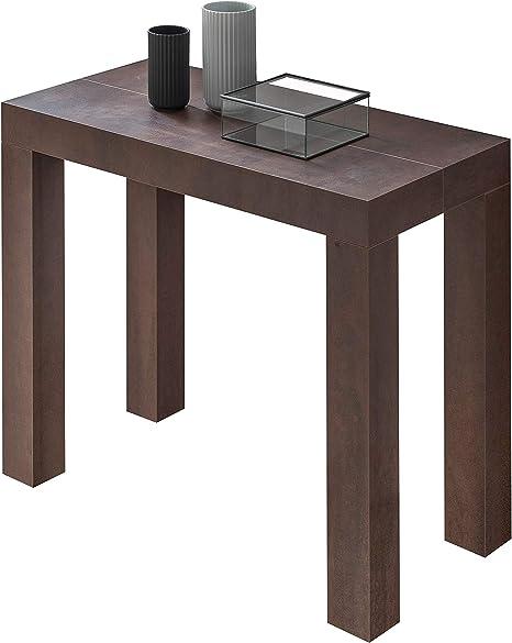 Table Console Extensible Modele Atena Couleur Acier Corten