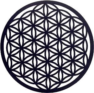 Choupee Flower of Life Crystal Grid Board – Sacred Geometrical Wall Art & Zen Home Decor – Meditation & Energy Balance – Poplar Wood – 11.5 inches for Home, Office, Yoga Studio (Black, 11.5 Inch)